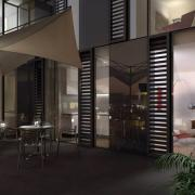 condominium patio night rendering