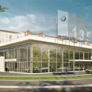 modern car dealership exterior architectural rendering