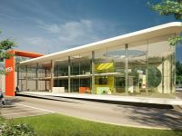 modern retail showroom exterior architectural rendering