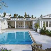 razore residence backyard pool 3d rendering