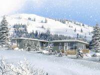 red mountain sky resort cabin winter rendering
