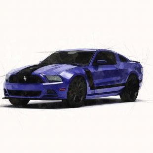 ford mustang boss marker style automotive illustration