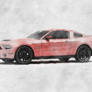 ford mustang shelby sketch style automotive illustration