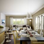 aragon condo dining room interior architectural rendering