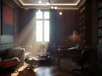 atmospheric library photorealistic interior rendering 402