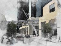 bellevue square sky bridge concept traditional  illustration style