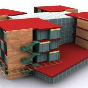cubed building concept architectural nonphotorealistic rendering