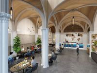 gothic church adaptive reuse cafe interior visualization