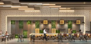 green cross society restaurant interior rendering