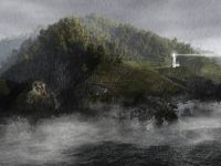 hecta head lighthouse traditional painting illustration