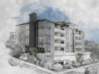 highland house condominium hand sketch illustration style