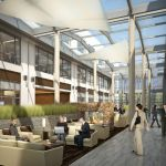lone peak corporate campus atrium interior rendering 425