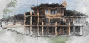 rudd residential house hand rendering illustration