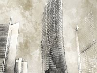 high rise night sepia traditional style illustration