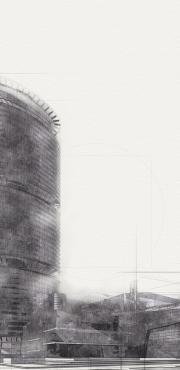 hirise pencil style architectural illustration